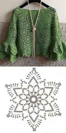 Crochet Shawl Diagram, Crochet Tunic Pattern, Crochet Motifs, Crochet Blouse, Crochet Squares, Crochet Doilies, Crochet Stitches, Crochet Patterns, Crochet Vests