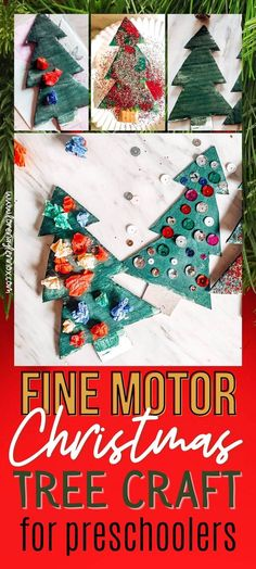 Since Lennox has become very invested in arts and crafts lately, I thought that I would share some fun sensory and fine motor activities that we have been working on for Christmas over the next few days!  The first craft we did is an easy fine motor Christmas tree craft that is sensory as well! It is super easy and does not require many materials. All you have to do is search for random things around the house. If you're a crafty mom like me, I'm sure there are endless items you could throw… Holiday Crafts For Kids, Christmas Gift Guide, Christmas Activities, Christmas Crafts For Kids, Christmas Fun, Art Activities For Kids, Motor Activities, Preschool Crafts, Fun Crafts