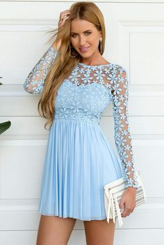 LIGHT BLUE LONG SLEEVE CROCHET TULLE SKATER DRESS #ustrendy www.ustrendy.com