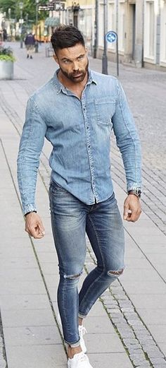 - with a summer double denim combo with a denim button up shirt ripped blue jeans watch no show socks white sneakers Tall Men Fashion, Denim Fashion, Summer Outfits Men, Casual Outfits, Double Denim, Mens Style Guide, Gentleman Style, Men Looks, Matching Outfits