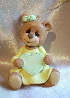 *POLYMER CLAY ~ teddy bear personalized Christmas ornament cake topper