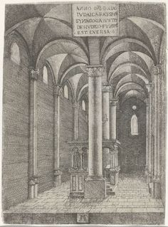 Albrecht Altdorfer | Interieur van de synagoge te Regensburg, Albrecht Altdorfer, 1519 | Interieur van de synagoge in Regensburg. De ruimte is twee traveeën breed, met de Ark tussen de tweede en de derde zuil van de middelste zuilenrij.
