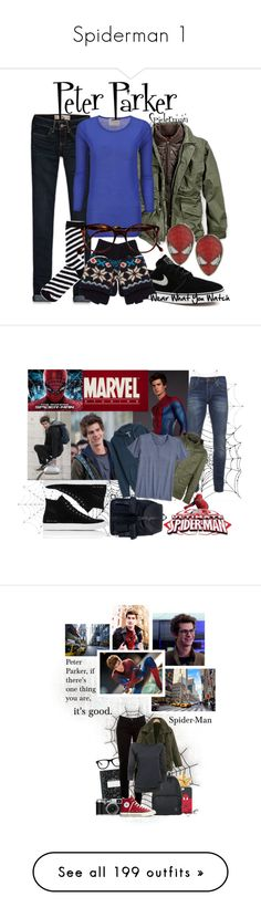 """Spiderman 1"" by gone-girl ❤ liked on Polyvore featuring CARGO, Hollister Co., Crumpet, Monki, NIKE, River Island, Cutler and Gross, 1928, skinny jeans and fingerless gloves"