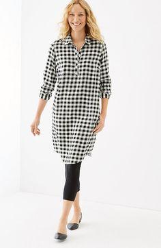 gingham rayon-twill shirtdress | J.Jill