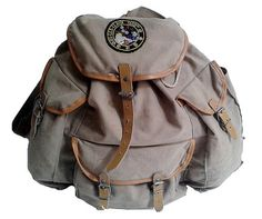 50s old LAFUMA BACKPACK canvas and leather / by lesclodettes, $85.00