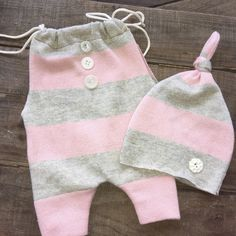 Gray and Pink Newborn Romper and Hat Set * Upcycled Photography Prop * Free…
