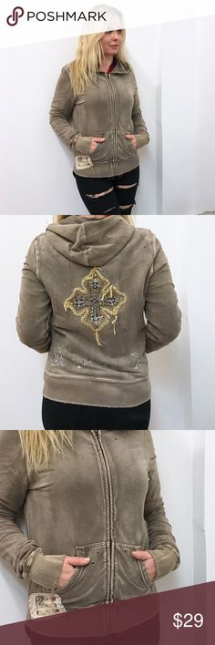 """Miss Me Hoodie Sz L Large Miss Me hoodie. Sz L. Great condition. Chest flat across 19"""" length 24.5"""" Miss Me Sweaters"""