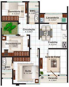 Plano de casa moderna de 70 metros cuadrados