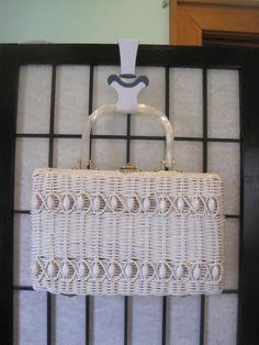 Vintage 1950s 1960s White Wicker Handbag Purse Beaded by girlgal6