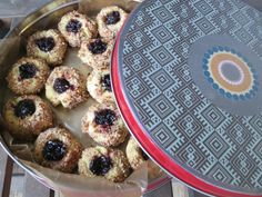 Thumbprint cookies with home made jam... also could use coconut to roll them in...