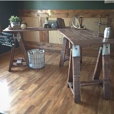 Awesome version of Shanty2Chic triple sawhorse table.  They turned it into a corner desk!  How cool is that?? ❤️