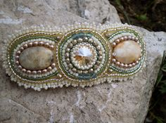 Bead Embroidery  barrette  Seed bead jewelry  Gold Green Cream Fine colors Soft glow via Etsy