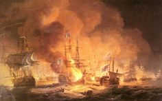 """1 August 1798, during the climax of the Battle of the Nile, the French admiral François-Paul Brueys d'Aigalliers, Comte de Brueys, died aboard his exploding flagship """"L'Orient""""."""