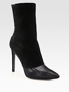 Alexander Wang - Cameron Mesh and Suede Boots