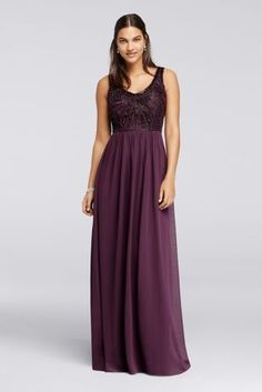 The deep V-neckline of this bountifully beaded bridesmaid dress is framed by…
