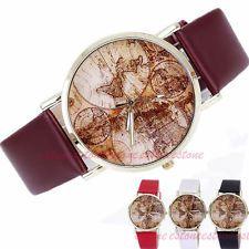 Retro Classic World Map Watch Faux Leather Analog Quartz Women's Wrist Watch