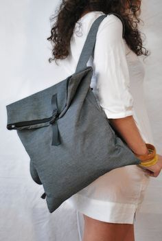 Delicate rucksack Crossbody bag Blue gray strong jean Minimal women backpack Unique School bag Stylish chic everyday bag Gift for her