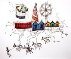 Donkey Ride - Lynn Walters Building Structure, Illustration Art, Ferris Wheels, Carousels, Carnivals, Donkey, Buildings, Crafts, Plant