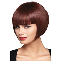 Dark Red Hot Sale Neat Bang Bob Short Straight Synthetic Party Wig (115 BRL) ❤ liked on Polyvore featuring costumes