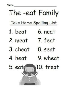Classroom Freebies: Fern Smith's The -eat Family Lists & Tests For Word Work