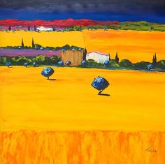 """JEAN CLAUDE TRON (FRENCH, B. 1943) BASTIDE EN PRONENCE. Oil on canvas. 37"""" x 37"""" Provenance: Luxembourg Luxembourg, Tron Art, Claude, International Artist, Provence, Oil On Canvas, Auction, Fine Art, French"""