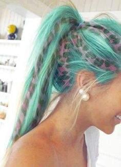 Animal print Pink and Turquoise hair