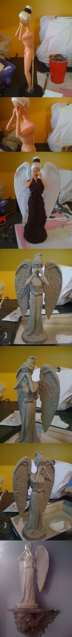 How to Make a Weeping Angel Barbie (link in comments) , this is so cool but I don't think I could hang this on my wall. I already have a creepy doll phobia....