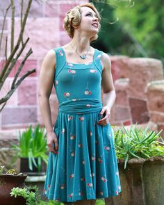 The Dolce Vita Dress Made of cotton spandex jersey. Machine washable. Full circle skirt. Has pockets. Available in XS, S, M, L, XL.