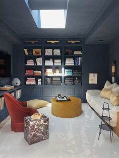 The Best Paint Color in Every Room of Athena Calderone's Brooklyn Home Movie Theater Rooms, Theatre, Best Paint Colors, Room Screen, Traditional Doors, Small Bathroom Storage, Modern Sectional, Wood Panel Walls, Upstairs Bathrooms