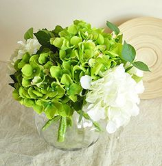 REAL TOUCH artificial flowers - Hydrangeas (Short) 6 stems - 6 colours available: Amazon.co.uk: Garden & Outdoors