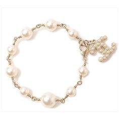 Pre-owned Chanel Coco Mark Logo Gold Tone Faux Pearl Bracelet ($732) ❤ liked on Polyvore featuring jewelry, bracelets, gold colored jewelry, pre owned jewelry, logo jewelry, goldtone jewelry and fake pearl jewelry
