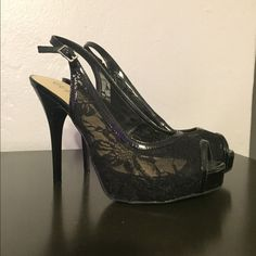 Guess black lace high heels Beautiful black lace high heels worn once. Size 8 Guess Shoes Heels