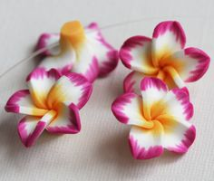 4 Polymer clay flower Hawaiian pink Plumeria flower 25mm