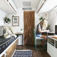 I think the interior is finally finished! YouTube walkthrough coming soon. Subscribe to our channel - link in bio! Tap photo for sources. See more photos at mavistheairstream.com/new-mavis