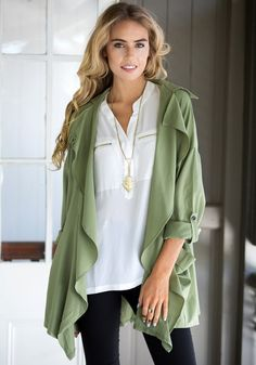 Fly Chiffon Cardigan - Army Green – Lookbook Store