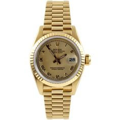 Refurbished Pre-Owned Rolex Women's President Yellow Gold Champagne... (100 970 ZAR) ❤ liked on Polyvore featuring jewelry, watches, gold, gold automatic watch, gold wristwatches, rolex watches, pre owned watches and leather band watches