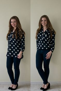 Curious what Stitch Fix is sending out right now? I'm trying on everything and giving my critique of my Stitch Fix February shipment! / Stitch Fix February 2015 Review - Pixley Colibri Heart Print Tab Sleeve Blouse in Navy