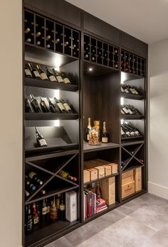 The depth of the wine shelf area is however we can make it deeper t if requiered Built In Wine Rack, Wine Rack Storage, Wine Rack Wall, Wine Wall, Wine Rack Design, Wine Cellar Design, Wine Cellar Modern, Bar Sala, Wine Cellar Basement