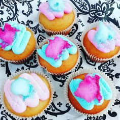 Candy Floss cupcakes🍭🍬 #newflavour #candyfloss #pink #blue #original #delishbakes #bakedwithlove #cupcakestagram #cupcakes #gourmetcupcakes… Candyfloss, Gourmet Cupcakes, New Flavour, Pink Blue, The Originals, Desserts, Food, Tailgate Desserts, Deserts
