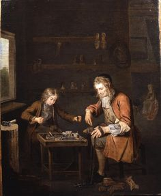 The Shoe Maker and His Apprentice, c. 1725 1725c  Peter Angelis 1685 - 1734