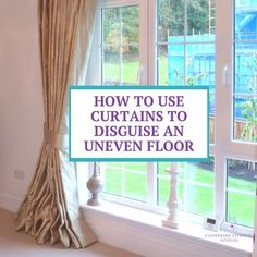 If you have an uneven floor, order your curtains overlong. Instead of skimming the floor, they're on the floor. That way, you don't notice that the curtains aren't dead level with the floor. Sometimes a couple of cm extra is ideal, sometimes you need a bit more. And sometimes, I'm asked to deliberately make the curtains overlong - like these silk curtains which are about 10cm overlong.⁣⁣  #WindowTreatments #HandmadeCurtains #UnevenFloors #Curtains