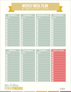 Download this FREE printable weekly meal plan and grocery list.