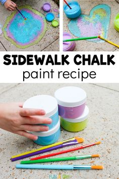 Let the kids make their own sidewalk chalk paint with just a few simple ingredients. Easy, fun, and the kids can practically do it themselves. #sidewalkchalk #activitiesforkids #funaday Activities For 6 Year Olds, Summer Preschool Activities, Early Learning Activities, Outdoor Activities For Kids, Preschool Lesson Plans, Preschool Art, Toddler Crafts, Crafts For Kids, Sidewalk Chalk Paint