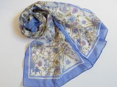 Lovely Made in Italy Blue Floral Pattern on white Long Scarf 54 x 11.5 | eBay