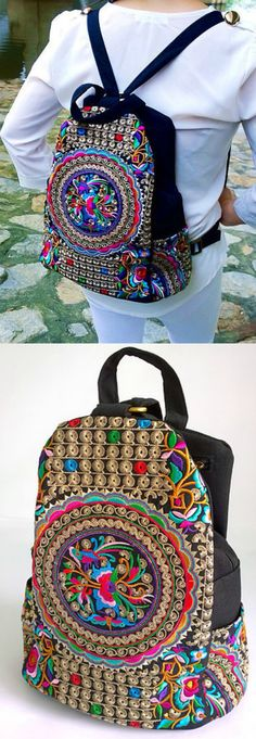 $42.00 - A Boho Style Ethnic Backpack with Traditional Hmong Fabric. This bag exhibits brilliant colours with unique embroidery patterns. ❤️  :: boho fashion :: gypsy style :: hippie chic :: boho chic :: outfit ideas :: boho clothing :: free spirit :: fashion trend :: embroidered :: flowers :: floral :: summer :: love :: street style :: fashion style :: boho style :: bohemian :: modern vintage :: ethnic tribal :: boho bag :: embroidery dress :: school bag :: backpack ::  :: hill tribe…