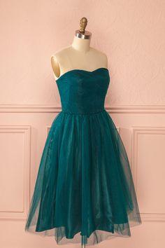 Tulia Emerald - Dark green tulle bustier midi dress
