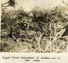 Rugged terrain at the northern end of Iwo Jima.