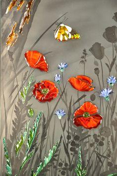 Витраж #vitrage #пескоструй #фьюзинг #artglass #артгласс #витражи #витражиспб #студияжогина #витраживинтерьере #изготовлениевитражей #витражиназаказ Window Glass Design, Mosaic Windows, Pooja Room Door Design, Pooja Rooms, Room Doors, Glass Panels, Home Deco, Poppies, Stained Glass