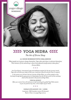 So excited to be leading a Yoga Nidra workshop at Yoga Village on August 25th and at Yoga Sivana on September 22nd.   You can book online at: www.yogavillage.com.au  www.yogasivana.com.au Yoga Nidra, Books Online, September, Workshop, Atelier