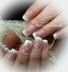 Wedding white nails